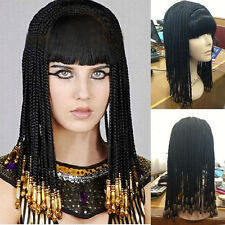 Nile Egyptians Cleopatra Womens Costume Wig Black Long Straight Curly Full Wigs