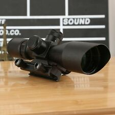 2.5-10x40 Red Green Mil Dot Reticle Sight Rifle Scope w/ Red Laser for 20mm Rail