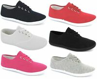 NEW LADIES FLAT PLIMSOLES LACE UP PUMPS GIRLS WHITE PLIMSOLLS CANVAS TRAINERS SZ