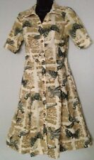 Anthropologie Girls From Savoy Dress Sz 2 Bird Print Corduroy Short Sleeve Beige