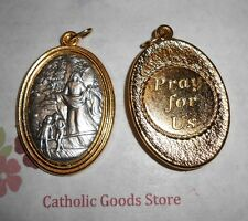 Guardian Angel - Pray for Us - Gold & Silver Tone Italian 1 3/4 inch Medal