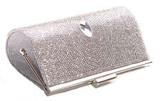 Chrisma Droplet Centre & Diamanté 20x10cm Silver Clutch Bag(Cl36)