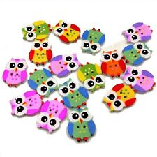 Trendy Colorful Wood Sewing Button Scrapbooking Cute Owl Shaped Crafts 2Holes