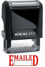 EMAILED text with Date Box, IDEAL 4911 Self-inking Rubber Stamp, RED INK