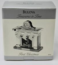 BULOVA Treasures in Time FIRST CHRISTMAS Musical Fireplace Clock NIB