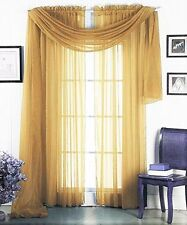 3PC 2 SHEERS GOLD WINDOW CURTAIN PANELS & 1 ELEGANT SWAG SCARF VALANCE