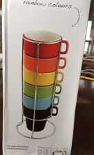 NEW set of 6 rainbow cappuccino coffee tea cups tower set with stand