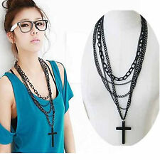 Retro Fashion Women Vintage Cross Pendant Long Chain Charm Necklace Girls Gift