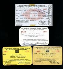Lot of 4 1929-49 Colorado Southern Fort Worth & Denver City Railroad Pass Ticket