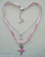 Sparkly Pink Ballerina and Teardrop Pink Ribbon and Chain Necklace in Gift Bag