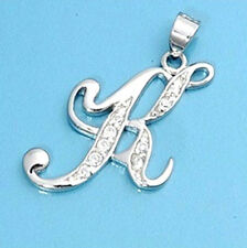 Alphabet Initial Pendant Sterling Silver 925 Cubic Zirconia Jewelry Letter K