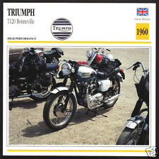 1960 Triumph T120 Bonneville 650cc Bonnie Motorcycle Photo Spec Sheet Info Card