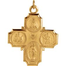 FOUR WAY MEDAL 30 x 29mm in 14K Yellow or White Gold 4 Way Scapular R5036