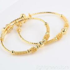 Childrens Bracelets 24K Yellow Gold Filled Adjustable Bell Bangle Kids Gift 2pcs