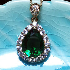 Green Emerald Teardrop Pear Diamond Halo Pendant Necklace 14K Yellow Gold A140