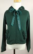 PAESAGGINO Girls Green knit hoodie with rosettes & rhinestone satin ribbon SZ 6