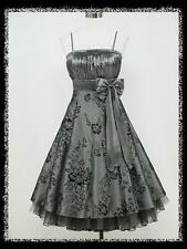 dress190 GREY 50s FLOCK TATTOO ROCKABILLY VINTAGE PROM PARTY COCKTAIL DRESS 8-10