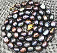 """Rare! 7-8MM black Akoya Cultured Pearl Necklace Baroque 18"""""""