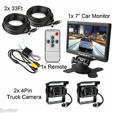 "2x 4Pin Truck Trailer Rear View CCD Camera 33Ft+7"" Car Monitor Night Vision Kit"