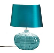 Teal Ceramic Table Lamp with Silky Shade