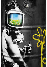 A1 size for glass frame  BANKSY STREET ART CANVAS PRINT Gas mask boy  poster