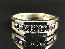 Mens 10K Yellow Gold Black Diamond Engagement Wedding Band Fashion Ring 1.01 Ct