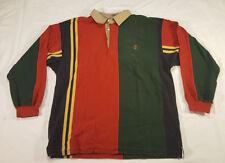 Chaps Ralph Lauren Striped Long Sleeve Polo Shirt XL Multi-color Crest VTG 90s