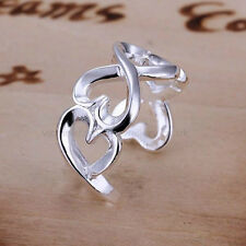 925 Sterling Silver Plated INFINITY HEARTS RING Thumb/ Wrap Ring ADJUSTABLE Gift