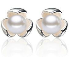 10mm New Fashion Silver Clover Shell Pearl Ear Stud Earrings Gift Box E16