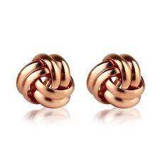 De 9 quilates de oro rosa chapado en plata esterlina Espiral Nudo Aretes