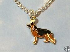 "CUTE GERMAN SHEPHERD DOG PENDANT/NECKLACE with silver plated 18"" CHAIN"