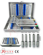 Set of 5 Sinus Osteotomes-Offset-convex-tip Handle & Free Stainless Cassette