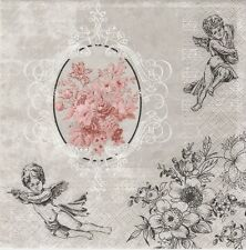 2 Serviettes en papier Anges et Fleurs roses Paper Napkins Angels among Flowers