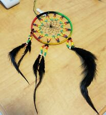 "Dream Catcher Wall Hanging Rasta Reggae 4"" Diameter Beads and Feathers"