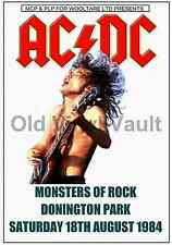 AC/DC Concert Poster Donington Park 1984 (Monsters Of Rock)  A3 size Repro