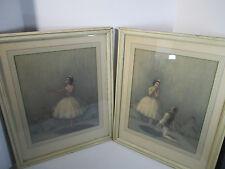 Ballerina Prints Pictures Framed Glass Charles Aurthur Rose Set of 2 Cottage