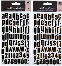 2 Packs Scrapbook Stickers Sticko GOLD Alphabet ABC 123 Numbers