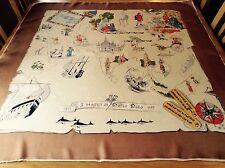 Diseñador Salterio Rara Vintage Seda Bufanda. los Viajes Marco Polo .35 X 34 pulgadas.