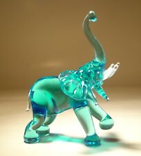 "Blown Glass ""Murano"" Art Figurine Animal Light Blue ELEPHANT with Raised Trunk"