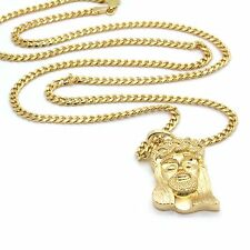 "Men's 14k Gold Plated All Gold Smooth Jesus Pendant Hip-Hop 30"" Cuban Chain"