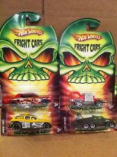 HOT WHEELS DIECAST - LOT OF 4 FRIGHT CARS - LINCOLN - EVIL WEEVIL - FORTRESS