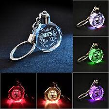LED Light KPOP BTS Bangtan Boys Jungkook Jimin Rap Crystal Keychain Fans Gift
