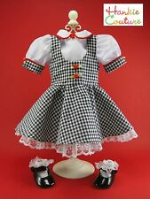 """FITS AMERICAN GIRL 18"""" BLACK GINGHAM HANKIE COUTURE DOLL DRESS BLOUSE SHOES SOCK"""