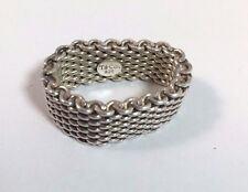 Tiffany & Co. Somerset Ring Sterling Silver 925 Flexible Mesh Size 7.5 - T & Co