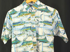 AVI Collection KAHALA Blue Aloha Hawaiian Gamefish Camp Shirt Fish Sz M Cotton