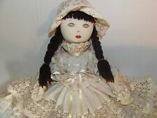 "30"" Vintage Doilies Cloth Doll Painted Face Detailed Beautiful"