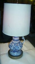Vintage Blue & White Gold Trimming Ceramic Porcelain Electric Table Lamp