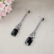 E15 Long Art Deco Gatsby 1920s Style Black Crystal Stud Dangle Earrings