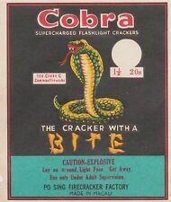 Vintage Cobra 20's Firecracker Pack Label