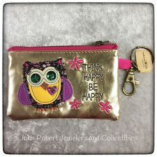 NATURAL LIFE COIN PURSE OWL VEGAN LEATHER MINI COIN PURSE W/ KEY CLIP NEW